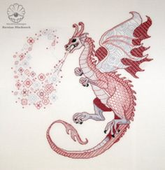 "Blackwork kit ""Dragon Lindworm"" from ""The Dragons-2012"" Blackwork collection- Etsy"