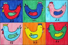 Kids Artists: Chickens in the style of Andy Warhol for kids.  Wow, I must have the kids make something like this for my kitchen!