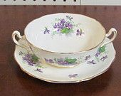 Adderley Bone china Cream Soup with Liner violets
