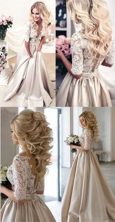 2017 Charming New Arrival Half Sleeves Lace Top Soft Beautiful Simple Wedding Dr. - 2017 Charming New Arrival Half Sleeves Lace Top Soft Beautiful Simple Wedding Dress, - Gatsby Wedding Dress, Long Wedding Dresses, Wedding Dress Styles, Wedding Gowns, Prom Dresses, Dress Prom, Wedding Dresses For Petite, Formal Dresses, Headpiece Wedding
