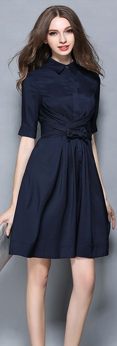 Navy Blue Contrast Collar Half Sleeves Bow Dress, Size: 4/6/8/10/12/14