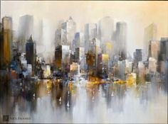 "Living for the City 48""x36"" by Wilfred. Art and Frames Gallery, Coronado, CA."