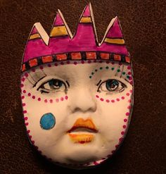 New to pinksupply on Etsy: Handmade clay face  goddess woman doll head  jewelry…