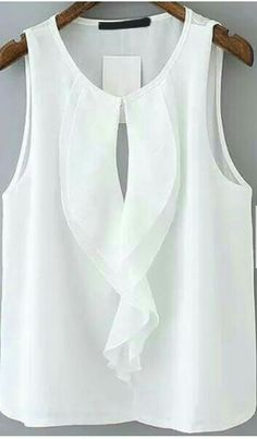 Ruffle Hollow Chiffon White Tank TopFor Women-romwe - my siteShop [good_name] at ROMWE, discover more fashion styles online. Would also be nice painted on silk:caramel and white:. Blouse Styles, Blouse Designs, Hijab Styles, Boho Bluse, Boyfriend Girlfriend Shirts, Sewing Blouses, Chiffon Ruffle, Chiffon Blouses, Cut Shirts