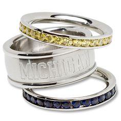 University of Michigan Logo Crystal Stacked Ring Set