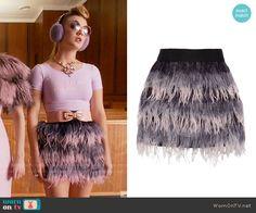 Chanel 3's purple feather skirt on Scream Queens.  Outfit Details: http://wornontv.net/54788/ #ScreamQueens