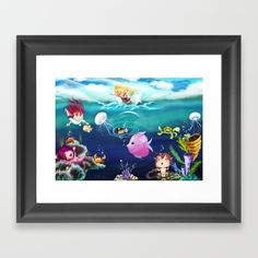 FUN•tastic Ocean FRAMED ART PRINT illustrated by We~Ivy in size mini, small or medium. Follow We~Ivy's Art BootH for more special #art #gift ideas for #holiday seasons or # birthday #party, to find great #home decors or stuff just to spoil yourself. Art Prints For Home, Framed Art Prints, Presents For Friends, My Themes, Website Themes, Art Boards, Ivy, Illusions, Cool Art
