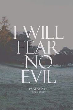 Fear no Evil ! For the Lord will protect you