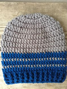 Handmade two toned beanie in grey and teal. by iheartorganix