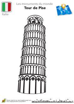 Un drôle de dessin de la Tour de Pise à colorier.