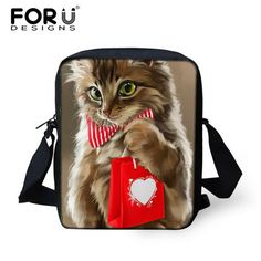 Messenger Bags With Many Fun Kitty Cat Prints