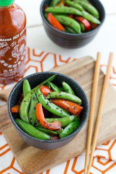 Sriracha Snap Peas with Red Bell Peppers & Sriracha #vegan #vegetarian #recipe from @Oh My Veggies