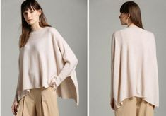 Pure cashmere, available in Beige or Black. Cross stitch details at shoulders. Bell Sleeves, Bell Sleeve Top, Jumper, Cashmere, Cross Stitch, Tunic Tops, Pure Products, Sweaters, Shopping