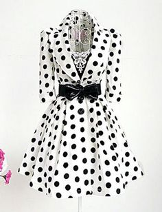 Gentlewomanly Polka Dots Lapel Collar Trench Coat for Women | Item Code 705235 at M.EastClothes.com