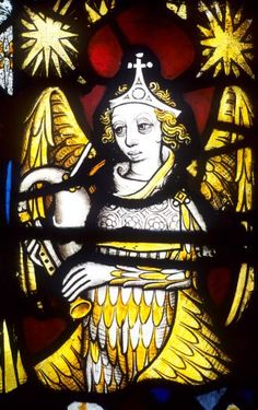 Winged Angel Playing Bagpipes, Medieval Window