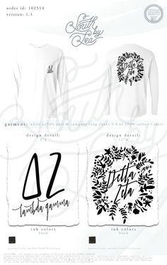 Delta Zeta | DZ | Lambda Gamma | Floral Wreath T-Shirt Design | South by Sea | Greek Tee Shirts | Greek Tank Tops | Custom Apparel Design | Custom Greek Apparel | Sorority Tee Shirts | Sorority Tanks | Sorority Shirt Designs
