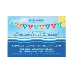 Pool Party Celebration Invitations by reflections06