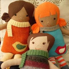 Recycled sweater dolls by Quiet Hours Toys