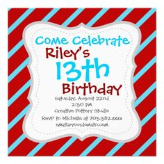 Fun Teal Turquoise Red Diagonal Stripes Gifts Invite.  Customize them for your party with name, age and event details.
