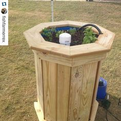 #Repost shoutout to @fishfarmerrex! That is such an awesome design!  My newly designed Aquaponics herb garden.