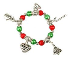 SUNSCSC Handmade Christmas Snowman Tree Heart Charm Stretch Bracelet for Women Girls -- Continue to the product at the image link.