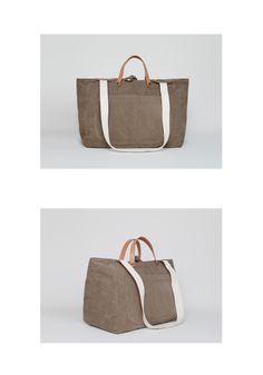 Canvas Bag with Leather Straps.