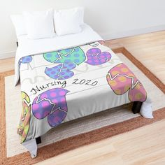 'Pastel Cardiac Rhythm Hearts' Comforter by Gail Gabel, LLC Cardiac Rhythms, Gabel, College Dorm Rooms, Nursing Students, Square Quilt, Twin Xl, Sell Your Art, Quilt Patterns, Comforters