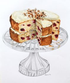 Raspberry and Hazelnut Sour Cream Cake - Alexandra Nea Illustration Dessert, Illustration Art, Food Sketch, Sour Cream Cake, Watercolor Food, Watercolour, Food Painting, Food Drawing, Kitchen Art