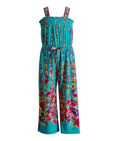 Look at this Youngland Teal Floral Jumpsuit - Toddler & Girls on #zulily today!