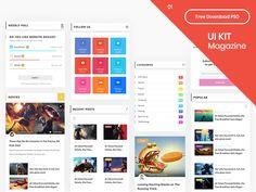 UI Kit Magazine Part 01 - Free Download PSD by Hasan Sibakhi Le Web, Ui Kit, Ui Design, Magazine, Free, App, Digital Marketing, Magazines, Apps