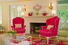 pink color interior design-Bright Color Living Room Design Photos Gallery by Kelley