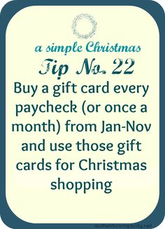 smart idea for saving money on christmas gifts, and not having to spend all your money in one month.(hmmm...this is a pretty good idea!)