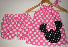 minnie Mouse pink  polka dot Swing dress&matching by minnieschild, $26.99