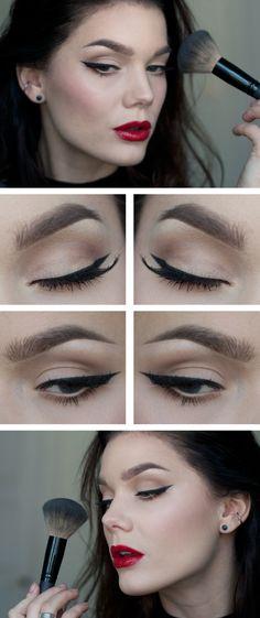 """Today's Look : """"Snow White"""" -Linda Hallberg (Love, love, love this look! Minimal eyeshadow, dark black eyeliner and RED lips. Simple. Sophisticate. Stunning.)"""