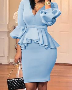 Shop Lantern Sleeve Ruffles Design Top & Skirt Sets right now get great deals at Voguelily. Mode Outfits, Chic Outfits, Dress Outfits, Girly Outfits, Office Outfits, Office Dresses, Fall Outfits, Ankara Skirt And Blouse, Latest African Fashion Dresses