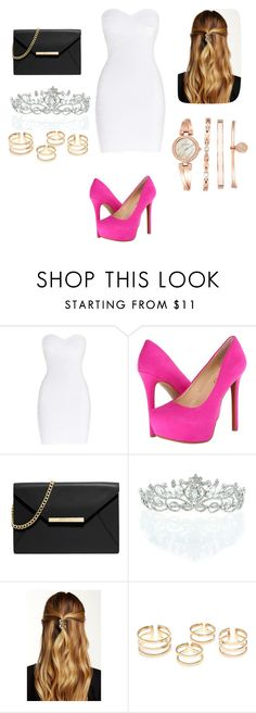 """""""Untitled #302"""" by dougherty-jenny ❤ liked on Polyvore featuring Hervé Léger, Jessica Simpson, MICHAEL Michael Kors, Kate Marie, Natasha Accessories, Anne Klein, women's clothing, women, female and woman"""