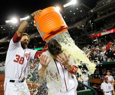 New York Mets vs. Nationals. Nationals Park, Washington DC. June 5, 2012. Mets blow 3 saves in 1 game. Nationals celebrate by dousing Harper with Gatorade? Them silly tenderfoot!!