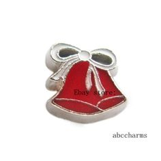 10pcs Christmas bells Floating charms For Glass living memory Locket FC1112