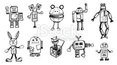 Funny Old Robots Doodle Royalty Free Stock Vector Art Illustration