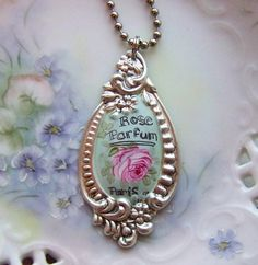 queenbee1924:  Hand painted silver Victorian pendant. Tiny Treasures