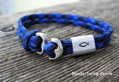 **Kinderarmband mit versilbertem Ankerverschluss und Fisch - Symbol**  Ein tolles Geschenk für Jungen zur Kommunion, Konfirmation oder Firmung. Das Armband wird maßgefertigt und von Hand mit...