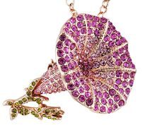 Off Park Collection (Tm) Pink And Green Crystal Rose Tone Flower Pin Pendant With Chain