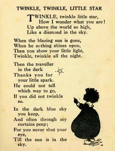 """'Twinkle, twinkle, little star ."""" English poem written by Jane Taylor & first published in 1806 in 'Rhymes for the Nursery' by Taylor & her sister, Ann . Nursery Rhymes Poems, Nursery Poem, Classic Nursery Rhymes, Star Nursery, Book Quotes, Life Quotes, Music Quotes, Kids Poems, Poems That Rhyme"""