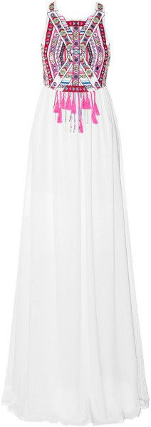 MARA HOFFMAN Blue Embroidered Voile Maxi Dress