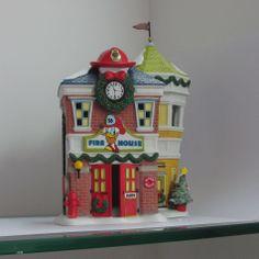 Disney Porcelain Lighted Donald's Fire Station Decoration - Seasonal - Christmas - Indoor Decor
