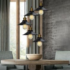 Industrial Shade Chandelier with 3 or 5 Lights #Black #Ceiling-Light #Chandelier