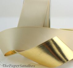 """Ivory/Gold Ribbon 1.5"""" wide Ribbon by the yard Gift Wrap, Christmas Ribbon, Weddings, Crafts, Home Decor, Wreaths, Party Supplies, Costumes"""