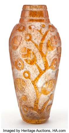 Art Glass:Daum, DAUM GLASS VASE . Clear glass vase with orange overlay etched in anArt Deco tree pattern, circa 1925 . Etched: Daum, Nan...