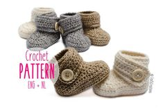 DIY kit / Crochet kit / DIY crochet kit baby booties including yarn, buttons and crochet pattern in 4 sizes. * This listing is only for the DIY kit to make these booties, not for the finished. Baby Knitting Patterns, Crochet Baby Boots Pattern, Baby Shoes Pattern, Crochet Baby Shoes, Crochet For Boys, Crochet Baby Booties, Crochet Boots, Baby Patterns, Diy Crochet