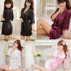 Hot-mulheres-Sexy-cetim-renda-Robe-Sleepwear-Camisola-Lingerie-Fio-Dental-Pijama